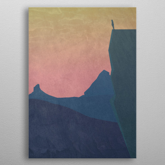 boy staring out into the mountains metal poster