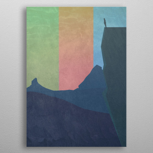boy facing out into the mountains metal poster
