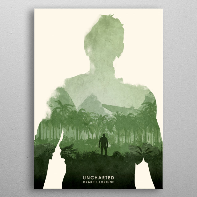 Poster design for the video game, Uncharted. metal poster