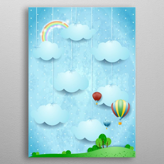 Surreal landscape with hanging clouds and hot air balloons metal poster