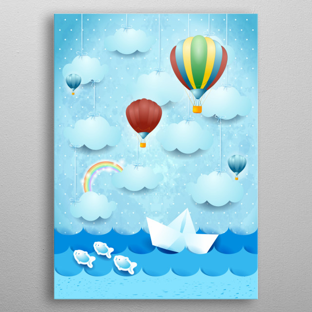 Surreal seascape with hanging clouds and hot air balloons metal poster