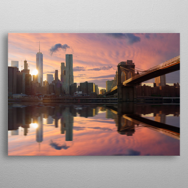 pink sky, New York metal poster