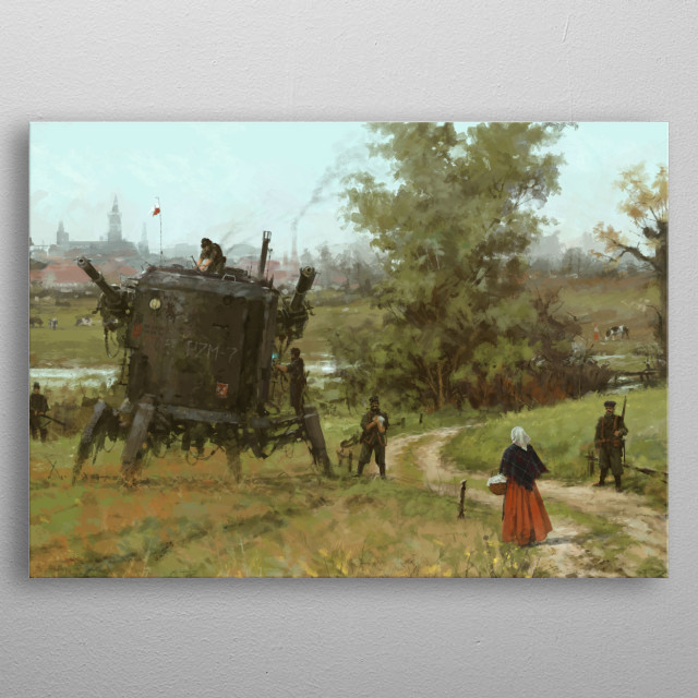 """'breakfast is coming' new painting from my World of 1920+,Polanian crew members repairing a damaged PZM-7 """"Strong"""" mech in the field, cheers!  metal poster"""