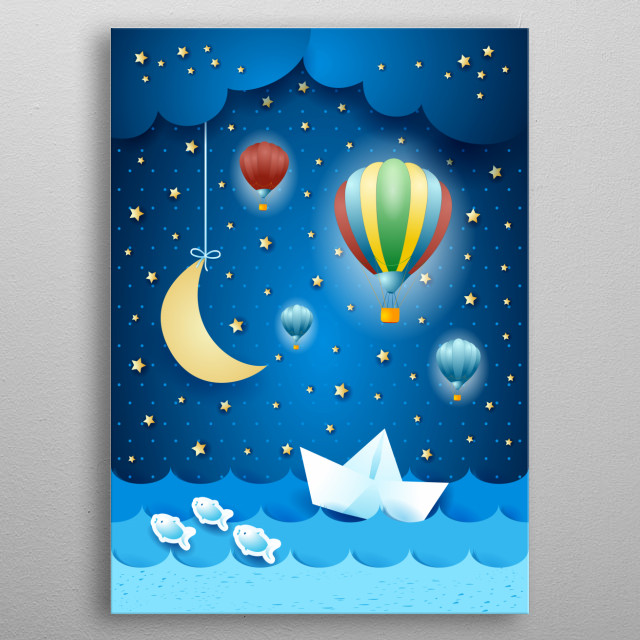 Surreal seascape by night with hot air balloons and hanging moon metal poster