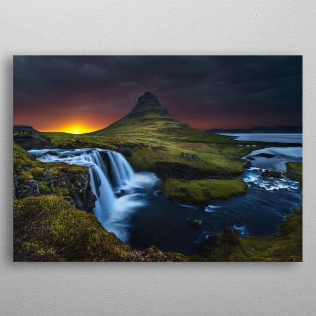waterfall, iceland metal poster