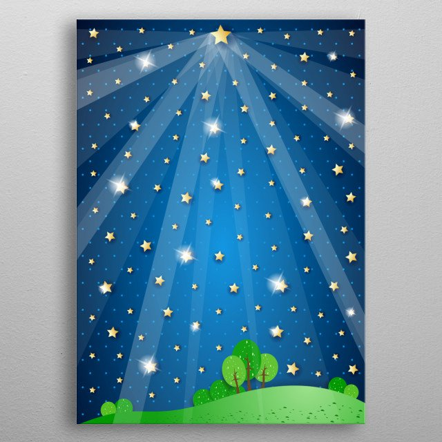 Surreal landscape with big star and lights metal poster
