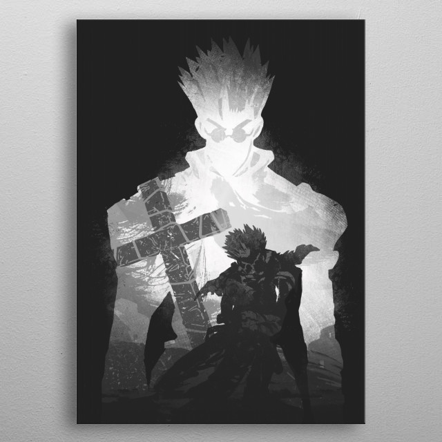 Monochrome Vash metal poster