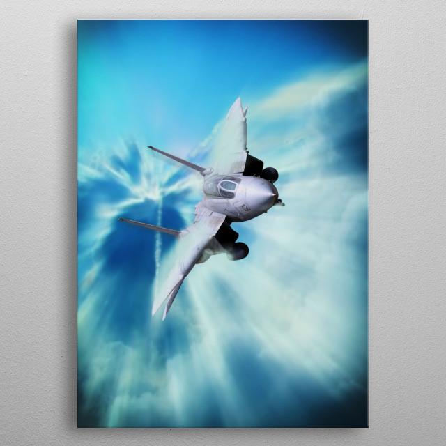 Grumman F-14 Tomcat thunders through the clouds metal poster