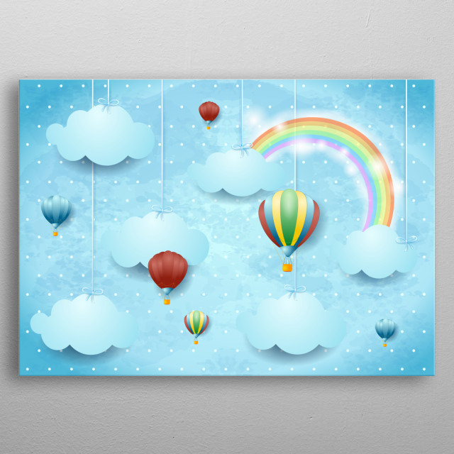 Surreal cloudscape with hanging clouds and hot air balloons metal poster
