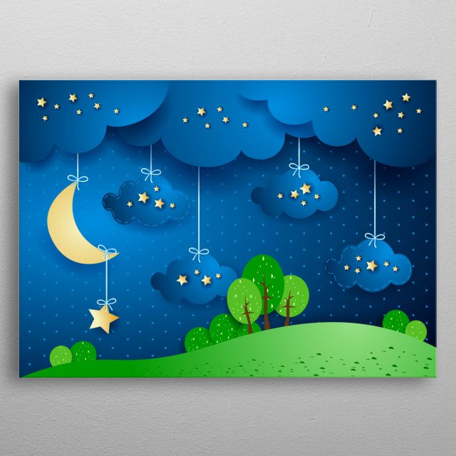 Surreal landscape by night with moon and hanging clouds metal poster