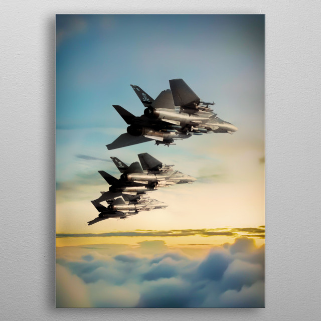 Grumm F14 Tomcats in formation above the clouds metal poster