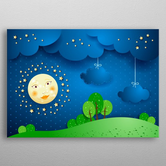 Surreal landscape by night with full moon metal poster