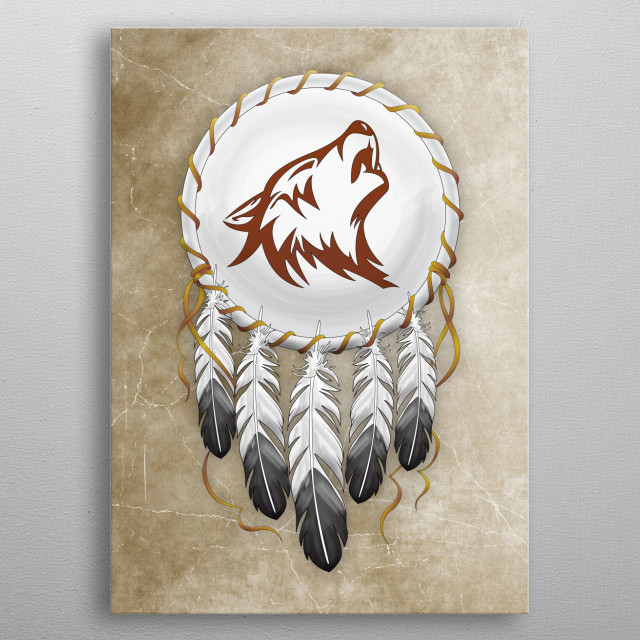 Wolf Dreamcatcher metal poster