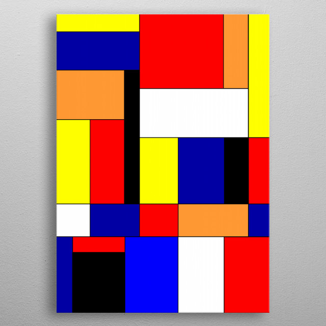 Mondrian #9 is a digital abstract geometric design -- inspired by Piet Mondrian -- by Rockett Graphics. metal poster