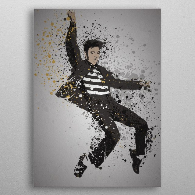 """The King"" Music Legends Splatter Inspired by Elvis metal poster"