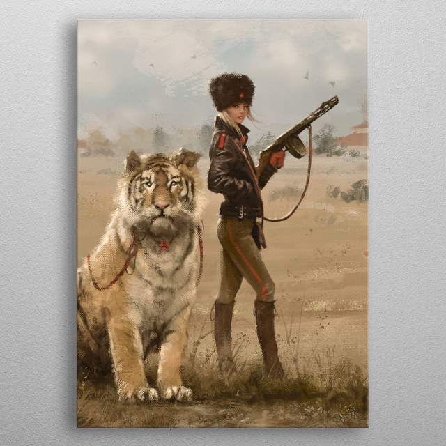 Olga with her tiger Changa, from my World of 1920+ metal poster