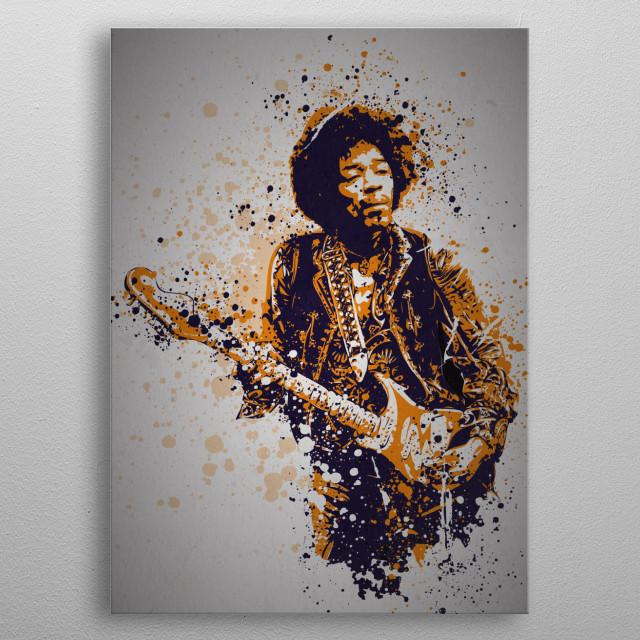 """Voodoo Child"" Music Legends Splatter Inspired by Jimi Hendrix metal poster"