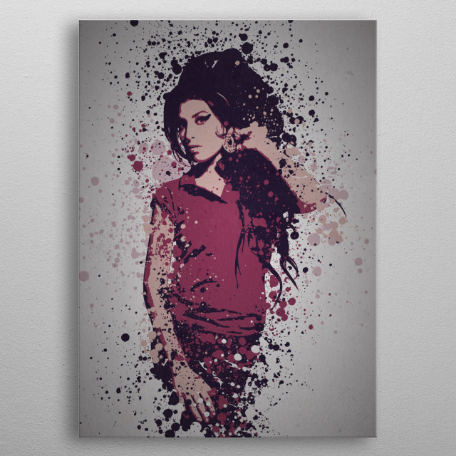 Cherry Wine Music Legends Splatter Inspired by Amy Winehouse metal poster