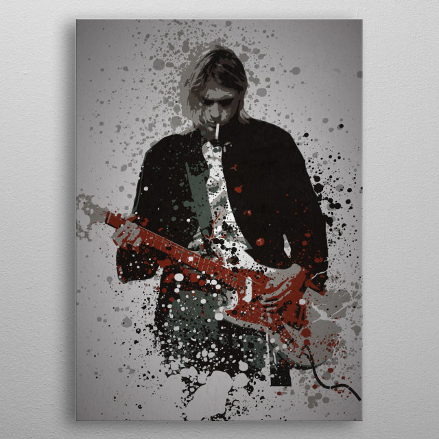 """""""Teen Spirit"""" Music Legends Splatter Inspired by Kurt Cobain metal poster"""