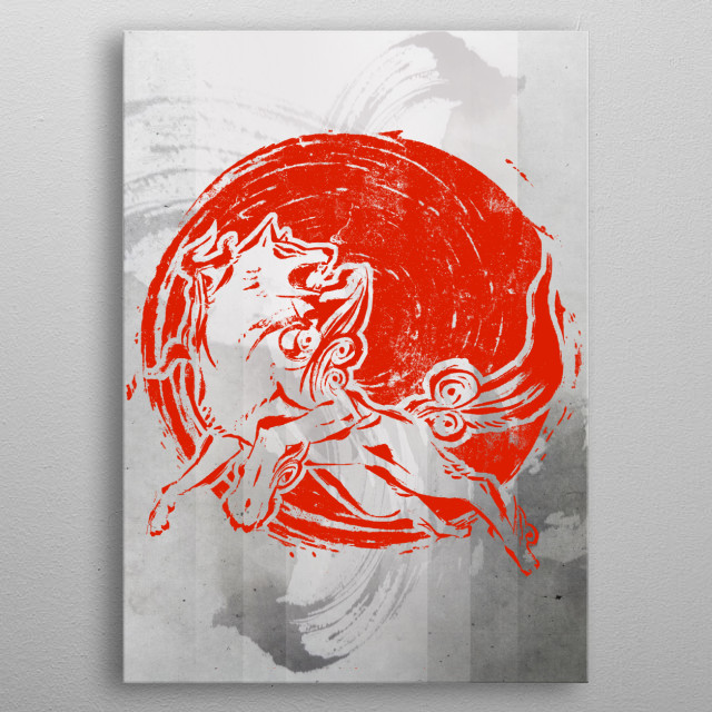 Red inked Fox metal poster