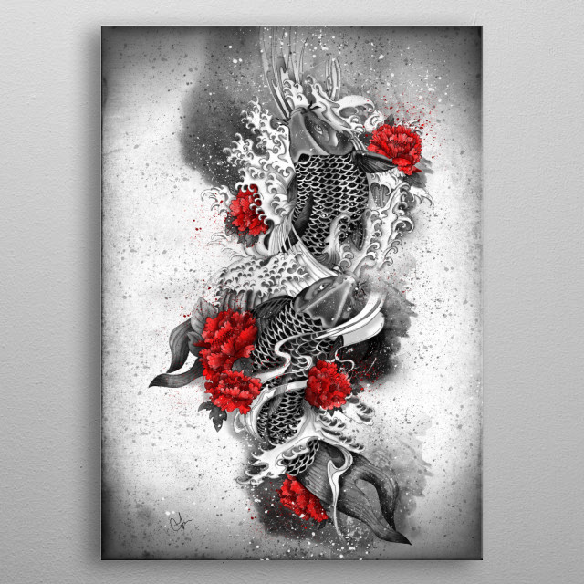 Two Kois and a river metal poster
