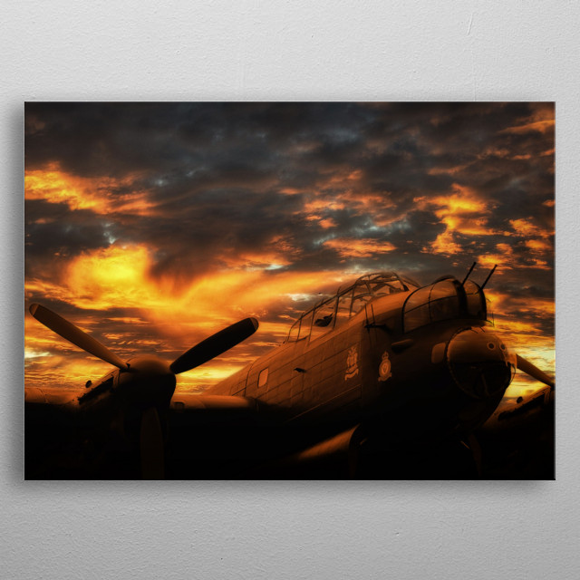 Avro Lancaster Bomber NX611 'Just Jane' sits under the setting sun metal poster