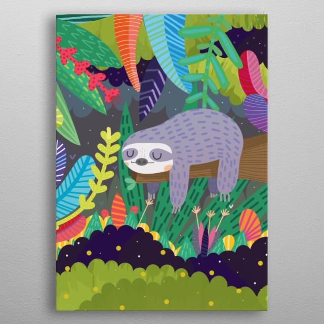 Cute sloth in nature metal poster