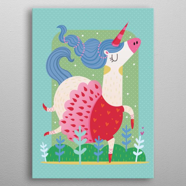 A little cute unicorn.  metal poster