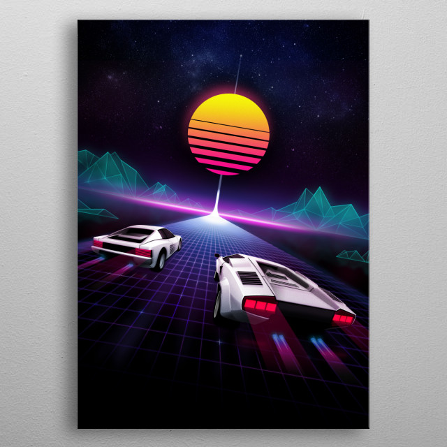 The ultimate super car race of the 80's on a neon lit highway to the stars. metal poster