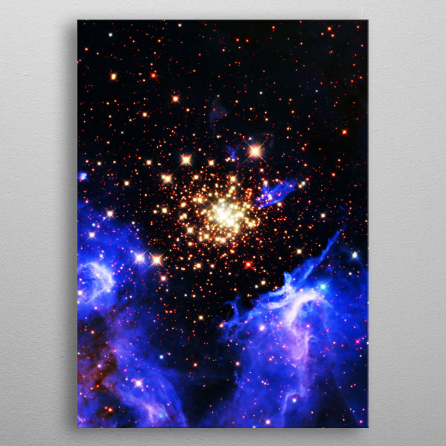 NGC-3603 is a digitally-enhanced version of an HST image of a galaxy cluster. metal poster