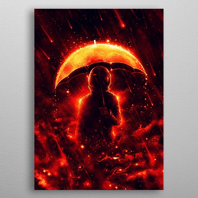Cosmic Rain - Get your umbrella moon. metal poster