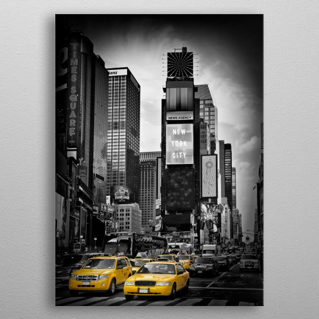 A classical Manhattan street scene at Times Square in New York City. Fantastic urban photography. Decorative colorkey version. metal poster