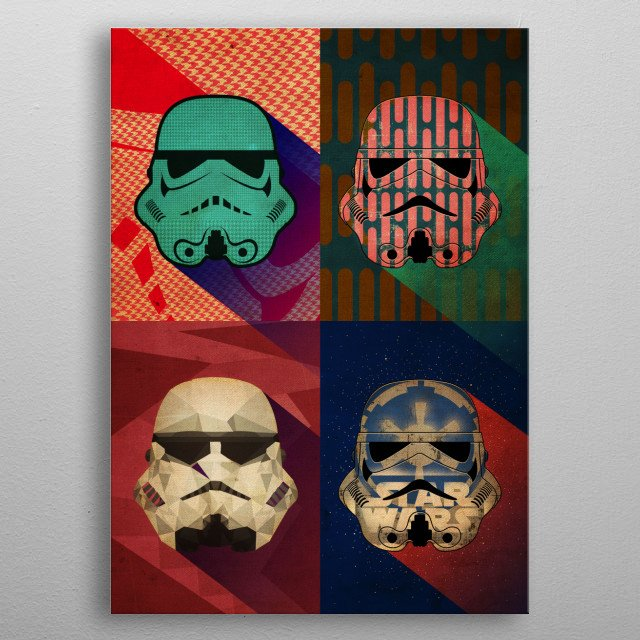 High-quality metal print from amazing Star Wars Stormtrooper Helmets collection will bring unique style to your space and will show off your personality. metal poster
