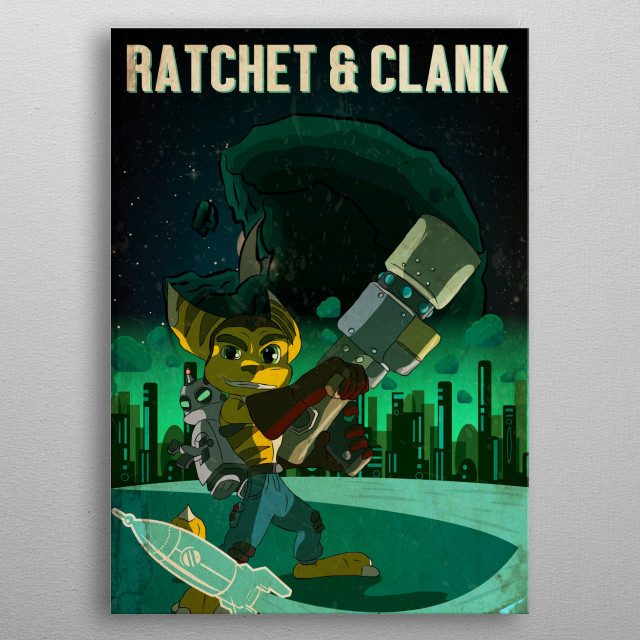 A Retro style image of Ratchet and Clank metal poster