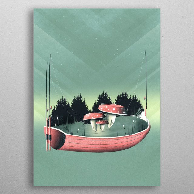 Fishing for Mushrooms | Digital Art, 2017 metal poster