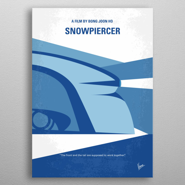 No767 My Snowpiercer minimal movie poster Set in a future where a failed climate-change experiment kills all life on the planet except for a lucky few who boarded the Snowpiercer, a train that travels around the globe, where a class system emerges. Director: Joon-ho Bong (as Bong Joon Ho) Stars: Chris Evans, Jamie Bell, Tilda Swinton metal poster