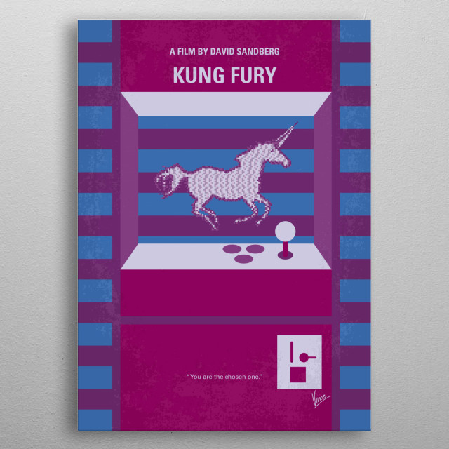 No770 My Kung Fury minimal movie poster In 1985, Kung Fury, the toughest martial artist cop in Miami, goes back in time to kill the worst criminal of all time - kung fuhrer. Director: David Sandberg Stars: David Sandberg, Jorma Taccone, Steven Chew metal poster