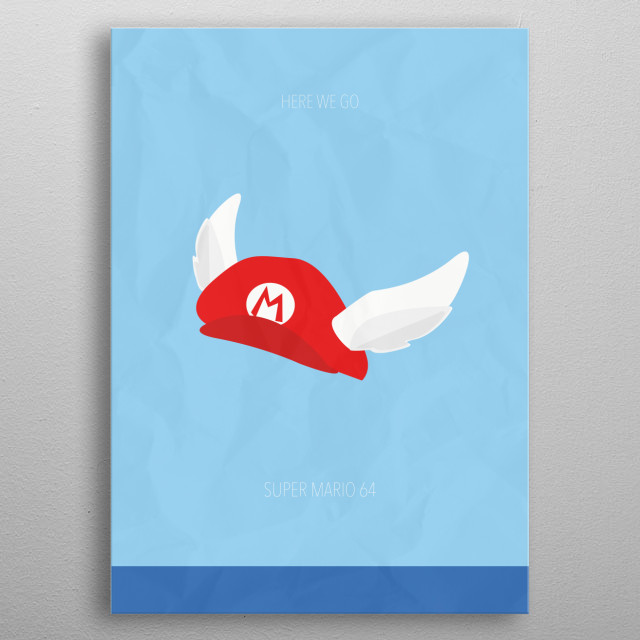 Minimalist Video Games | Super Mario 64 metal poster