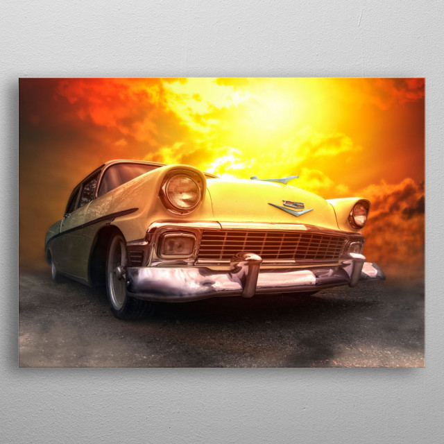 Old vintage American  56 Chevy Belair.. edited in Photoshop metal poster