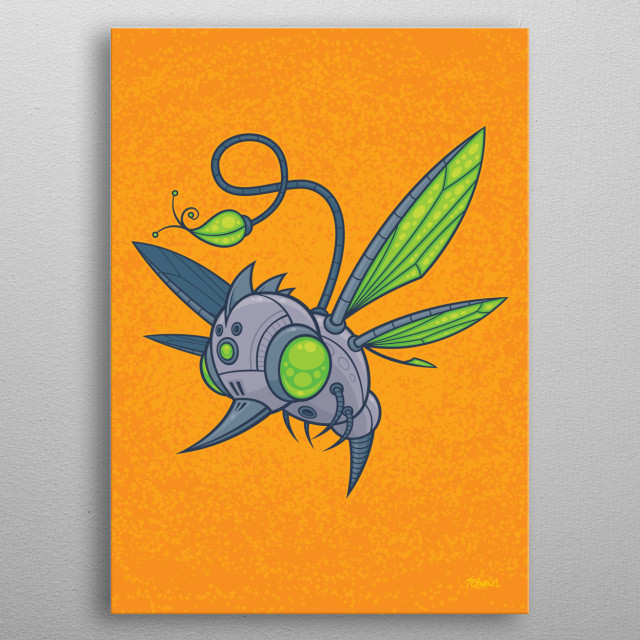 Vector cartoon illustration of a flying robot drone with green eyes and wings. Sadly, he was designed to take the place of hummingbirds, bees and other pollinating insects when they all became extinct. metal poster