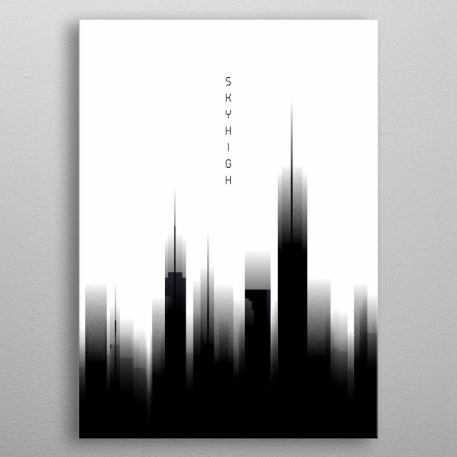 An imaginary skyline of New York City mixed up with a modern graphic design – the dynamic atmosphere reflects urban life. Unique compositing of poster style and pop art! metal poster