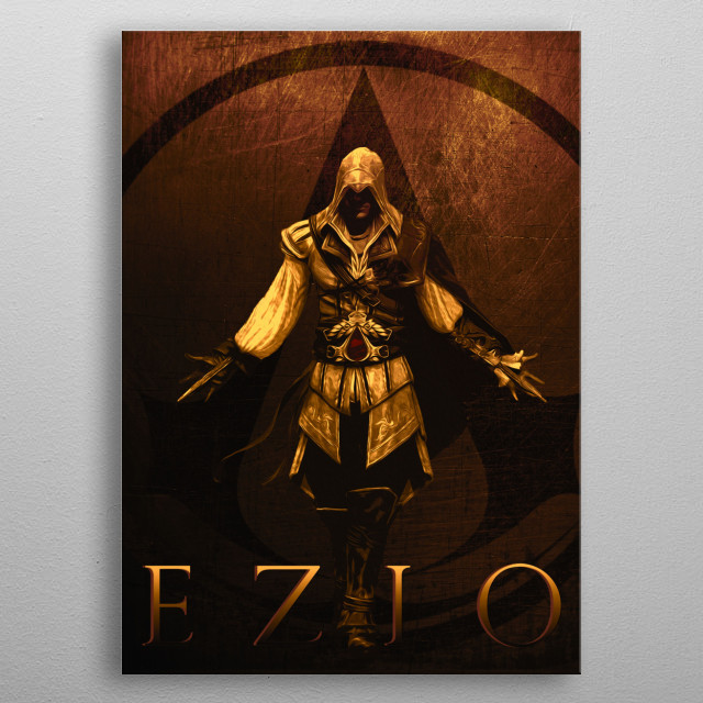 Ezio inspired by famous video game metal poster