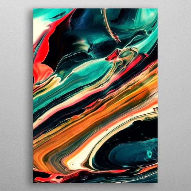 ABSTRACT COLORFUL PAINTING II-B. An exciting part of my abstract acrylic painting. ©3-2017 by Pia Schneider, atelier COLOUR-VISION. metal poster