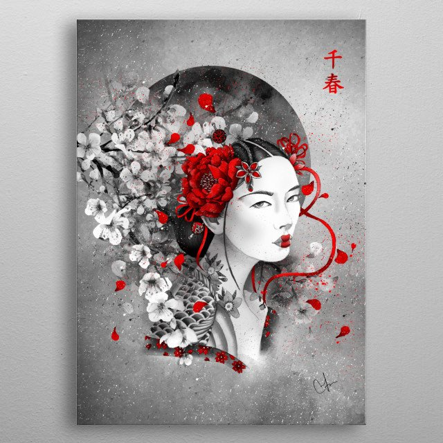 Chiharu means : a thousand springs metal poster
