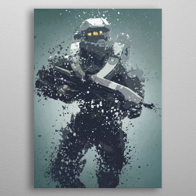Master Chief. Splatter effect artwork inspired by the Halo universe. metal poster