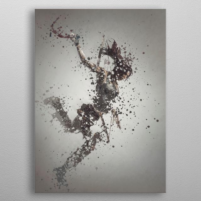Lara Croft. Splatter effect artwork inspired by the Tomb Raider universe. metal poster