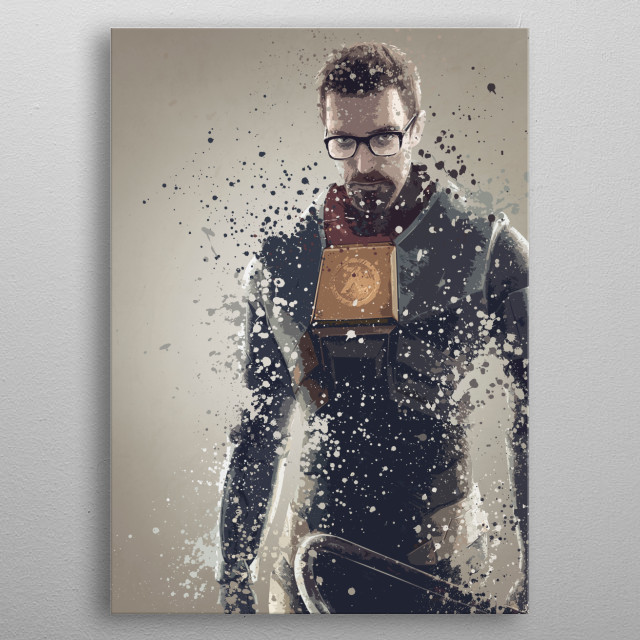 Gordon Freeman. Splatter effect artwork inspired by the Half Life universe. metal poster