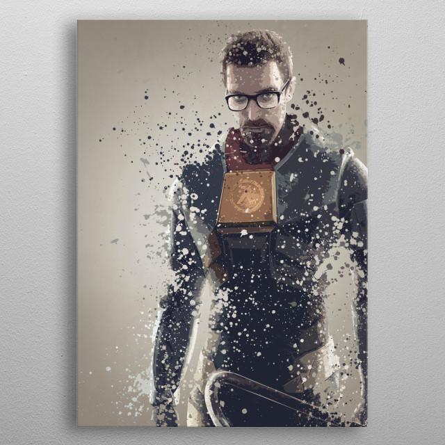 Gordon Freeman. Splatter effect artwork inspired by the Half Life universe. metal poster
