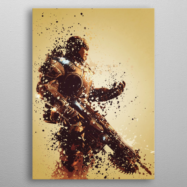 Marcus Fenix. Splatter effect artwork inspired by the Gears of War universe. metal poster
