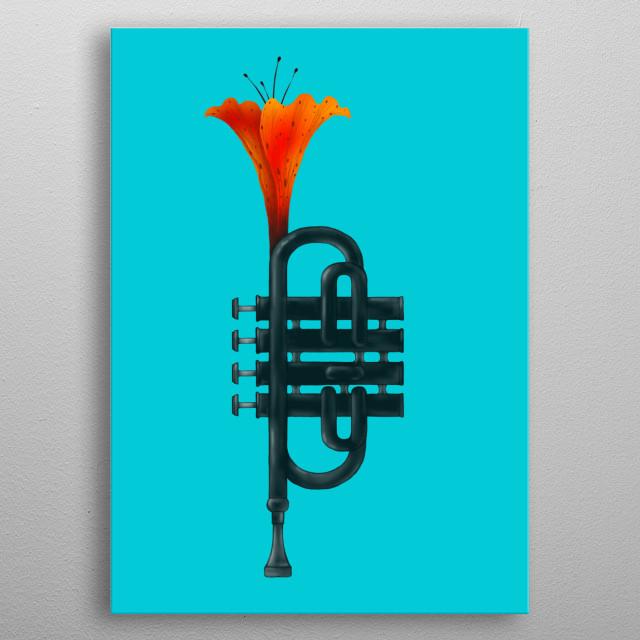 Trumpet Flower metal poster